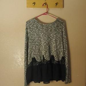 Gray Sweater with Black silky Trim